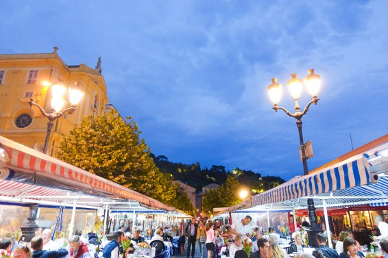 cours saleya at night
