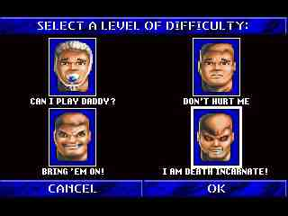 Wolfenstein 3D Difficulty Selections