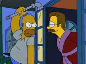 Homer Simpson and Ned Flanders from The Simpsons