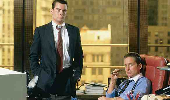 Michael Douglas as Gordon Gekko and Charlie Sheen as Bud Fox in Wall Street