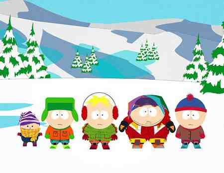 South Park - Ike, Kyle, Butters, Cartman, and Stan in Asspen