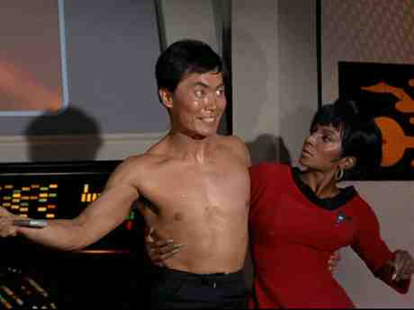 Sulu and Uhura in The Naked Time Episode of Star Trek