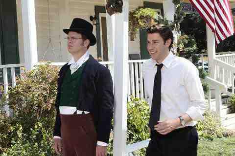 Rainn Wilson as Dwight Schrute and John Krasinski as Jim Halpert The Office Garden Party