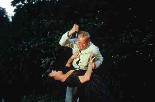 Eva Mattes becomes Kinski's victim in Herzog's Woyzeck