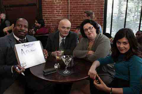 Leslie David Baker as Stanley Hudson, Creed Bratton as Creed, Phyllis Smith as Phyllis Lapin, Lindsay Broad as Cathy Simms in The Office Trivia