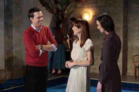 Ed Helms as Andy Bernard, Ellie Kemper as Kelly Erin Hannon, Eleanor Seigler as Jessica in The Office Pool Party