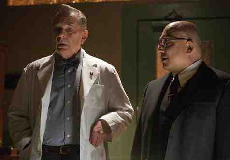 Leon Rippy as Beauregard and Jonathan Coyne as Warden Edwin James in Alcatraz's Paxton Petty