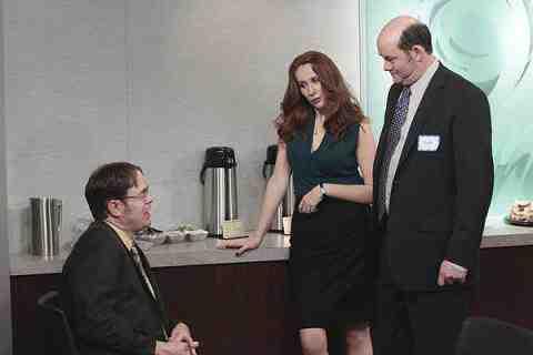 Rainn Wilson as Dwight Schrute, Catherine Tate as Nelly Bertrum, Daved Koechner as Todd Packer