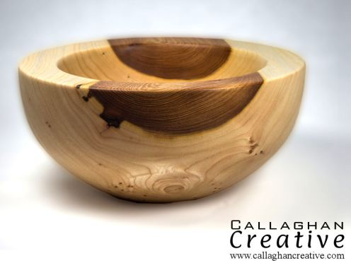 Ash/olive ash bowl, 14cm dia, 7cm high [sold]