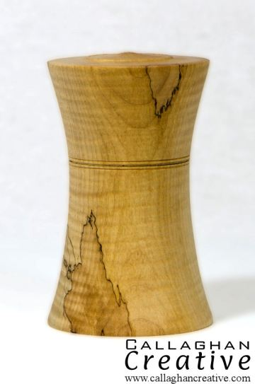 Ripple sycamore diabolo box, 8cm dia, 13cm high