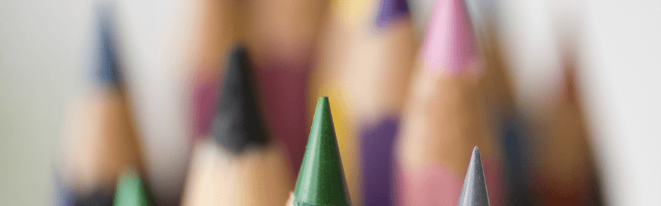Close up image of color pencils.