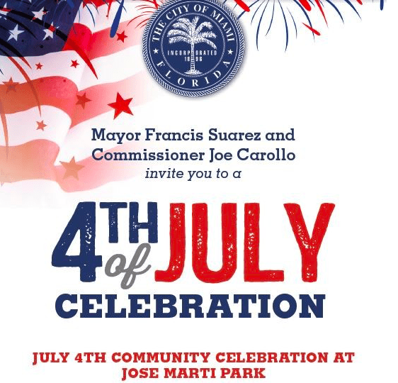 Screen Shot 2018 07 03 at 8.03.12 PM - Mayor Suarez and Commissioner Carollo to celebrate Fourth of July with residents