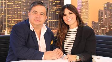 Rosi and Carlucho in Univista TV Studios