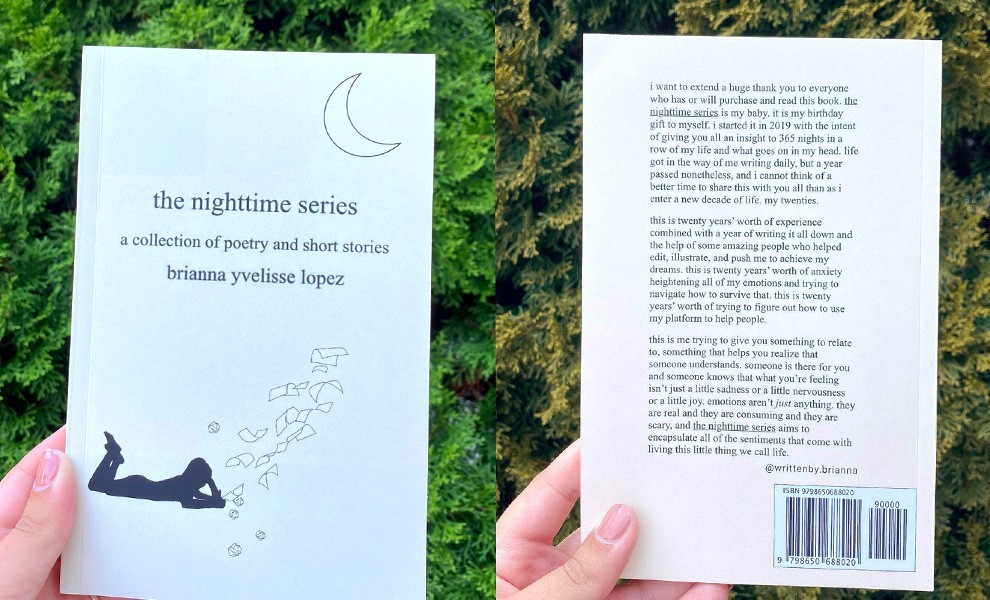 brianna lopez book inside - Brianna Yvelisse Lopez and her book The Nighttime Series