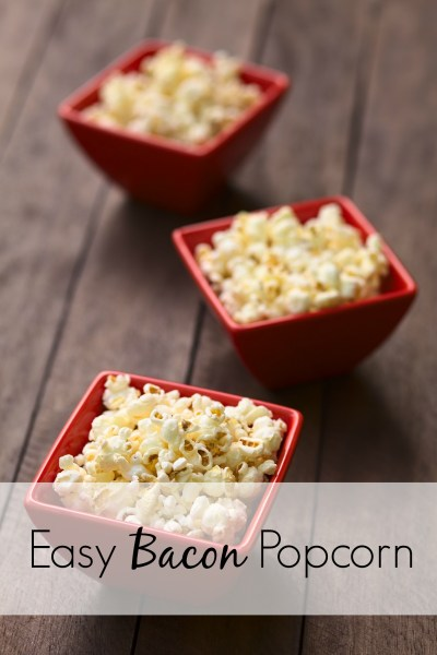 If you're looking for popcorn recipes, look no further. Cook your bacon in the oven and easily whip up this treat in your own kitchen. This is no vegetarian food, friends. AND, this bacon popcorn recipe has a sweet twist that will take it over the edge!