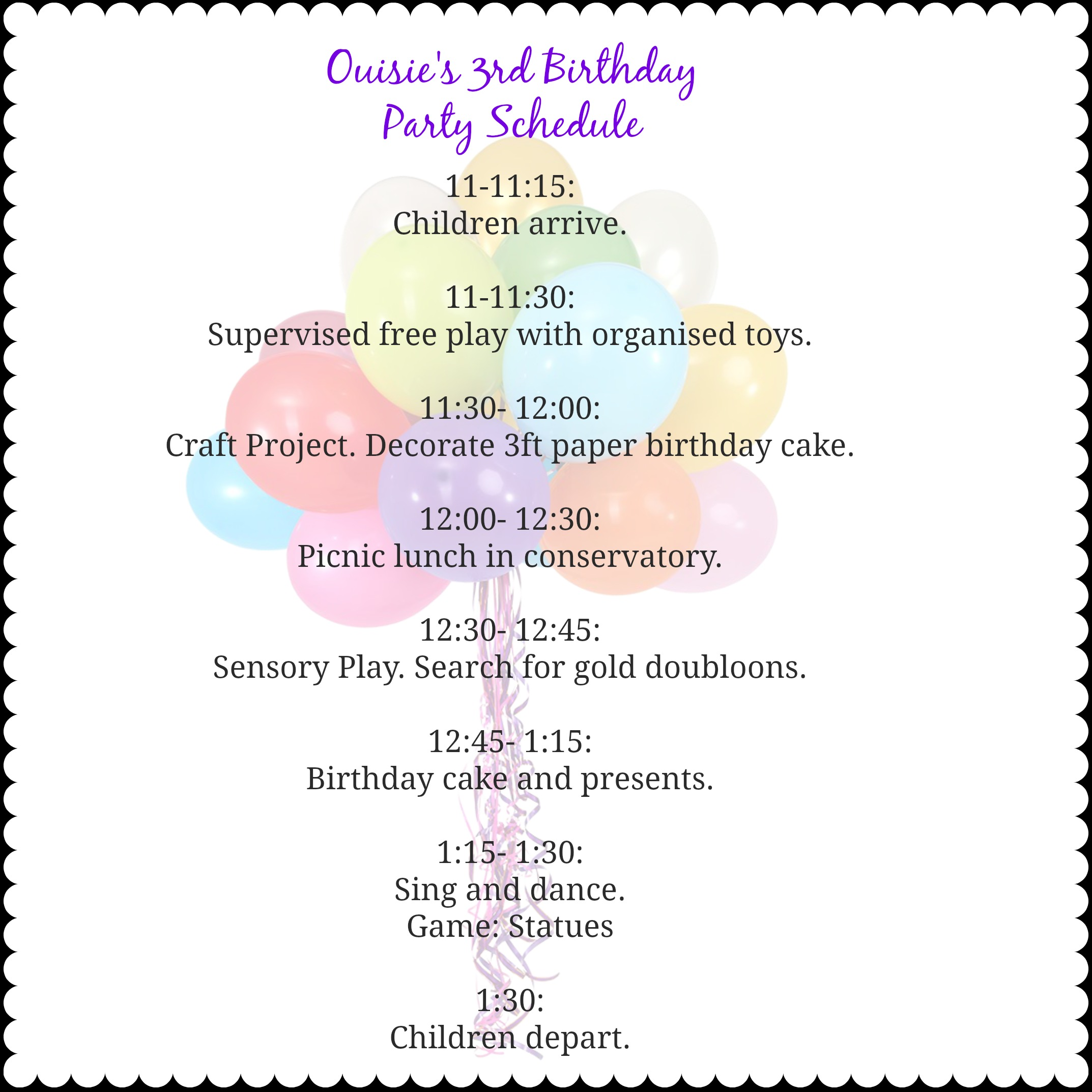 Party Itinerary Template it s nice to put together a day of – Birthday Itinerary Template