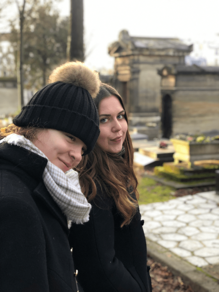 Kayla and McKenzie at Pere Lachaise Cemetery