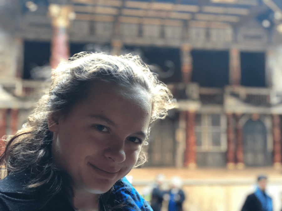 McKenzie in Front of the Globe Theater Stage