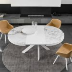 Calligaris Tivoli Round Extendable Dining Table Medium Seats 4 8 Semi Automatic Central Book Extension System Cs 4100 Calligaris Nyc New York City Soho Chelsea Upper East Side