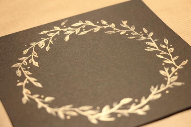 Carte Joyeux Noël Calligraphique - Couronne