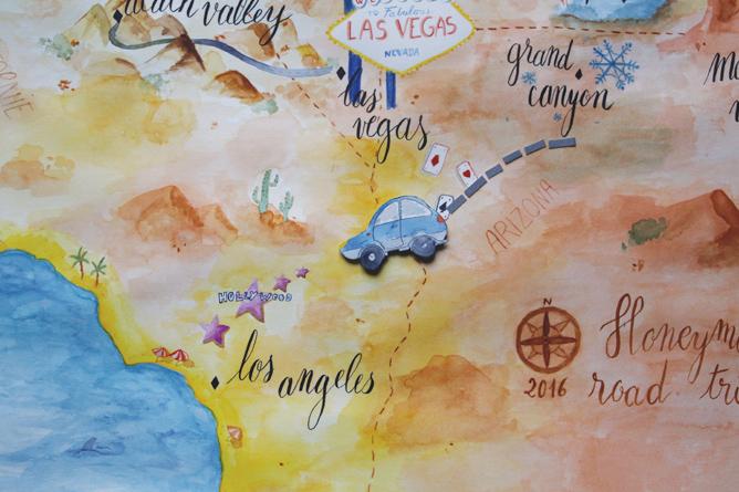 Carte illustrée des USA - calligraphique