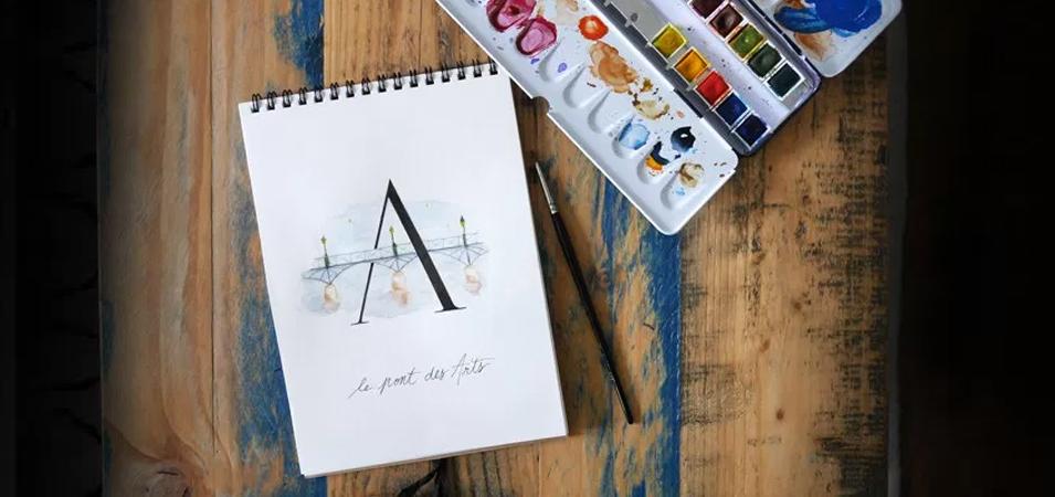 abécédaire paris calligraphie aquarelle