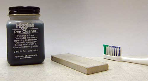 Pen Cleaner, Sharpening Stone and Old Toothbrush