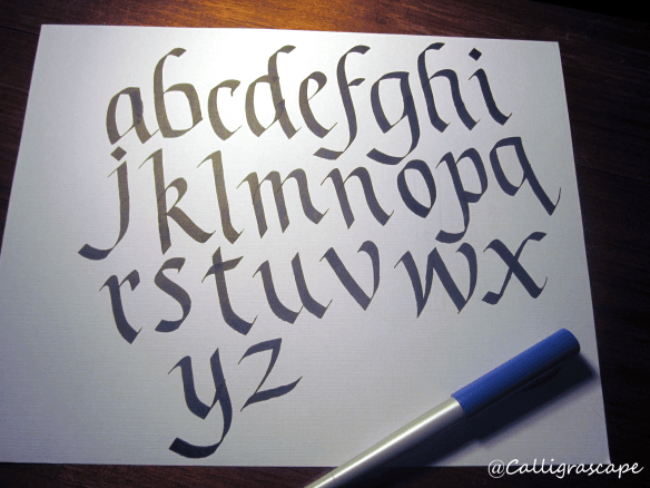 Blackletter Italic Alphabet with Pilot Parallel