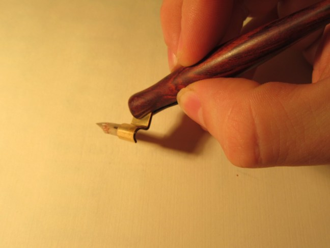 Modern calligraphy holding