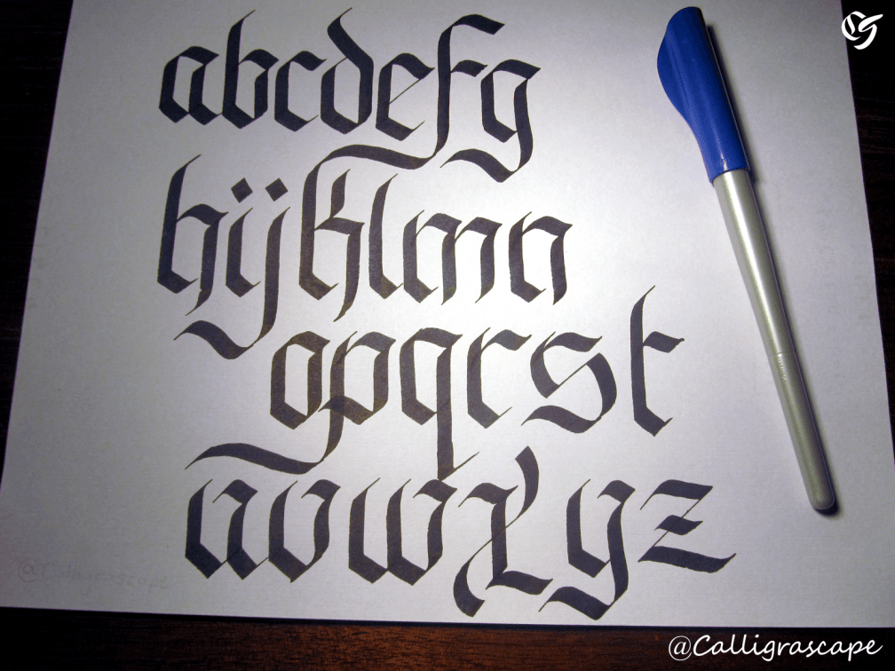 Lowercase Fraktur Alphabet Example With Pilot Parallel