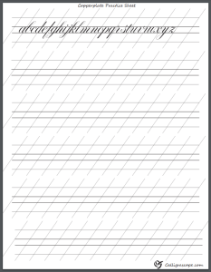 Copperplate Calligraphy Practice sheet with Letter examples