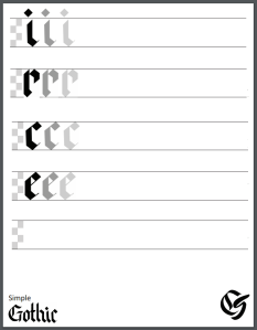 Simple Gothic Calligraphy Practice Sheet