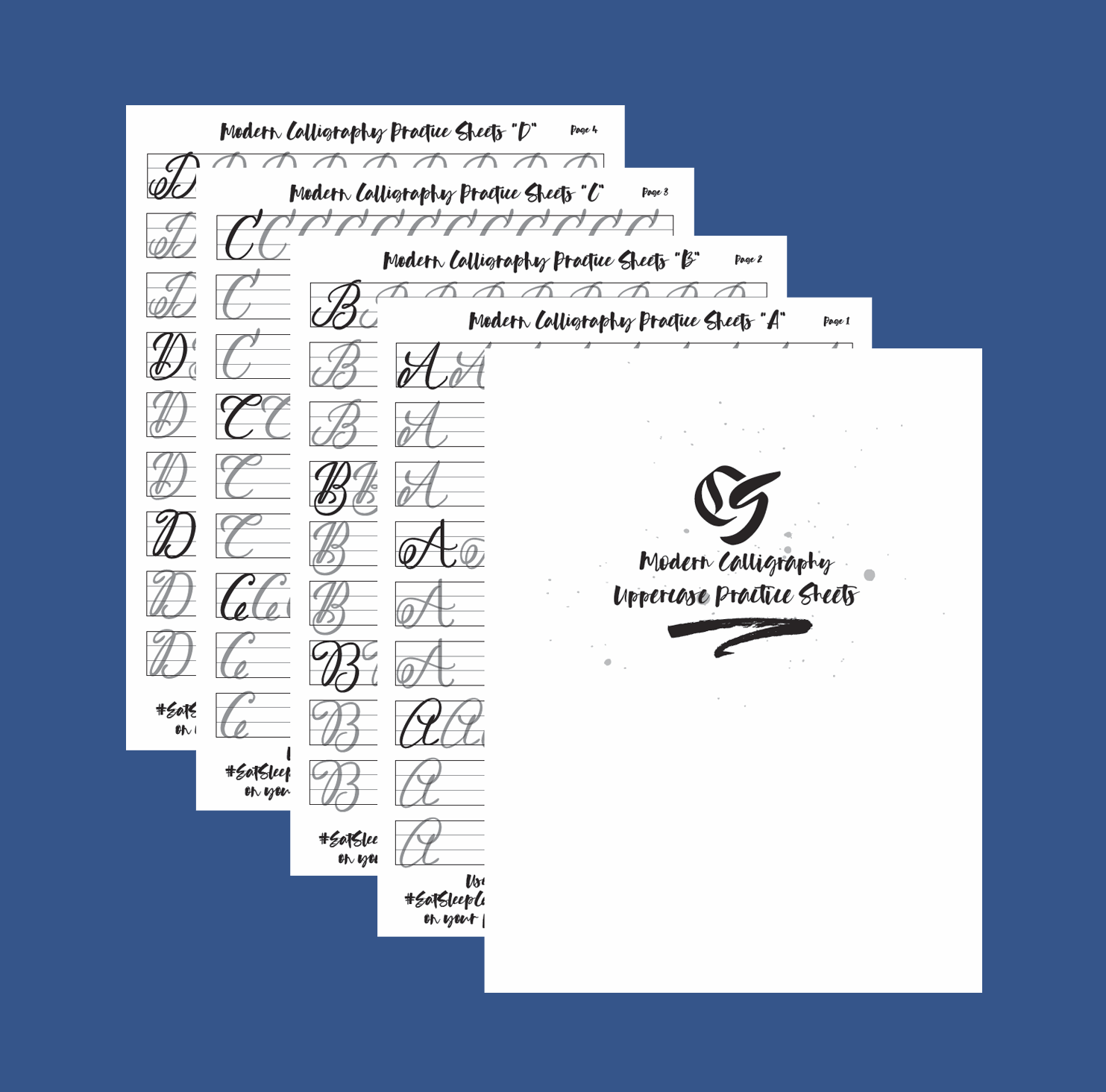 Modern Pointed Pen calligraphy Uppercase Practice Sheet set Product