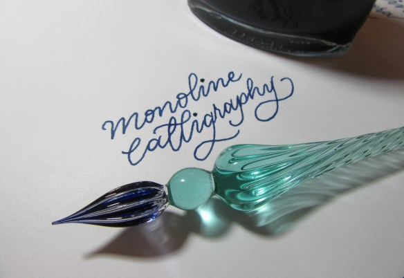Monoline Calligraphy with a glass pen