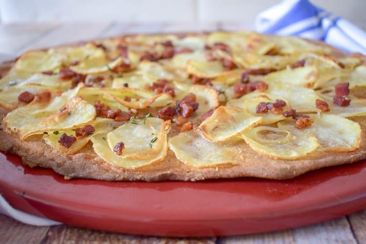Side view of potato pizza