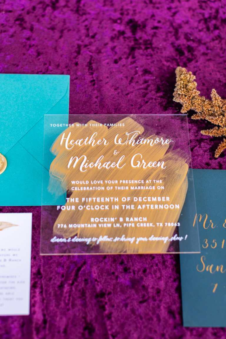 Acrylic Modern Invitation Gold Paint Strokes and teal dark blue details and gold wax seal at Rockin B Ranch by CalliRosa custom wedding invitations in San Antonio Texas