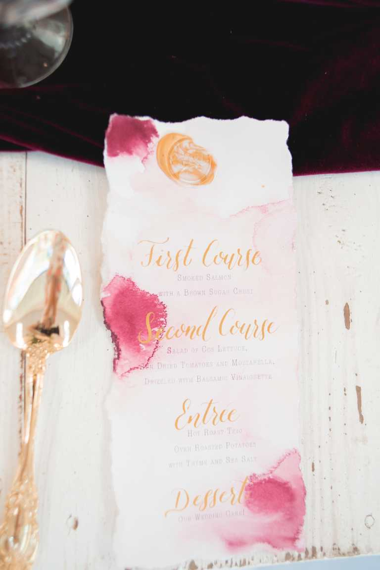 Burgundy Pink Rose Watercolor Menu with Gold Calligraphy and Wax Seal at The Oaks of Boerne by CalliRosa Calligrapher and Custom Invitations in San Antonio Texas