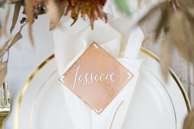 Copper Acrylic Placecard with White Calligraphy by CalliRosa Calligrapher in San Antonio Texas