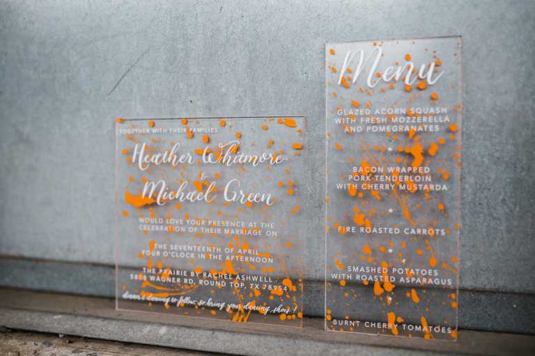 Fun Acrylic Modern Invitation Orange Paint Splatters by CalliRosa custom wedding invitations in San Antonio Texas