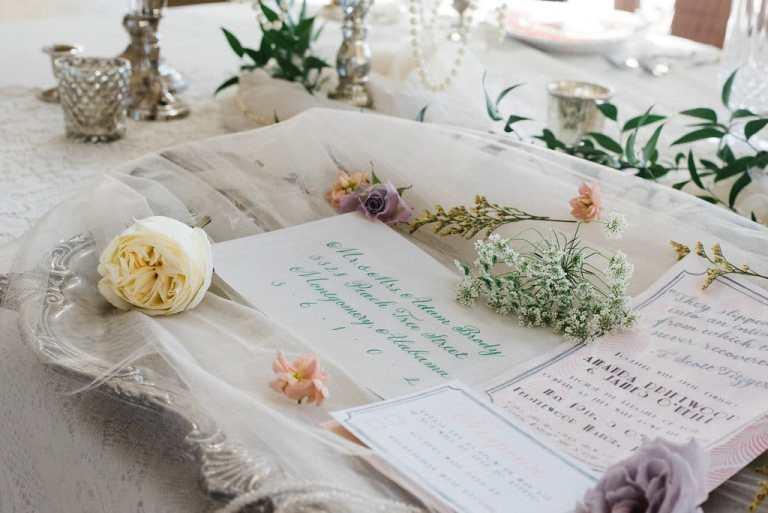 Green Blush Vintage Modern Invitation with Vellum Detail Overlay by CalliRosa Custom Wedding Invitation in San Antonio Texas