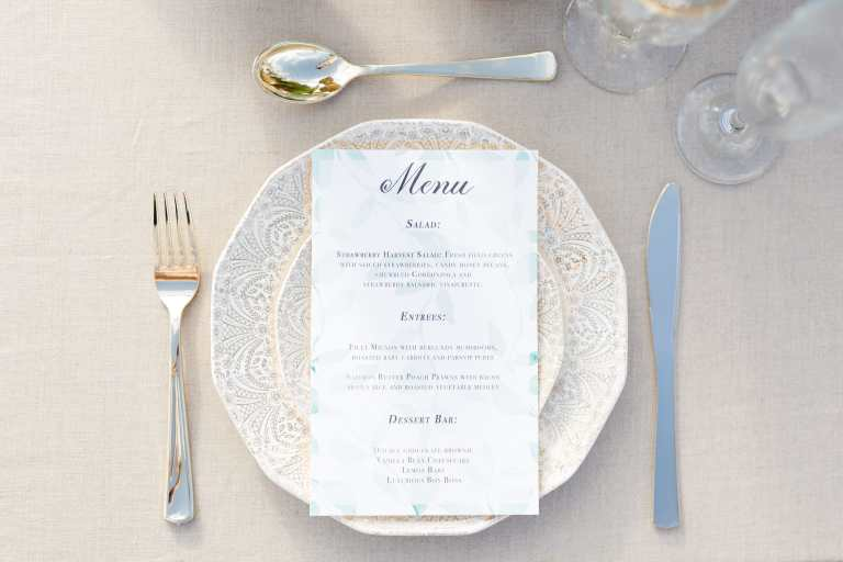 Greenery Leaf Italian Menu with at Villa at Cielo Vista by CalliRosa Calligraphy and Custom invitations in San Antonio Texas