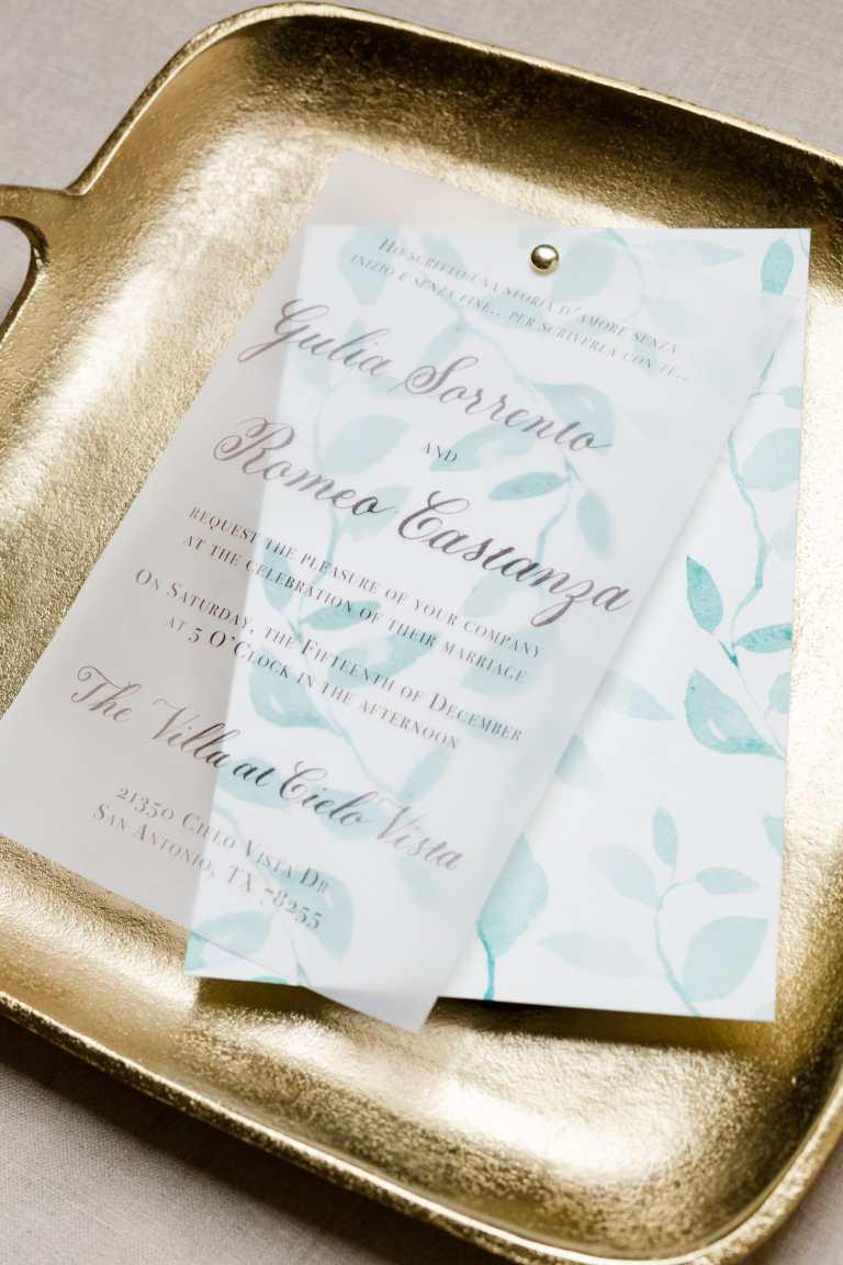 Greenery Modern Invitation with Vellum Details Overlay and dark green emerald calligraphy at Villa at Cielo Vista by Callirosa Custom Wedding Invitation in San Antonio Texas