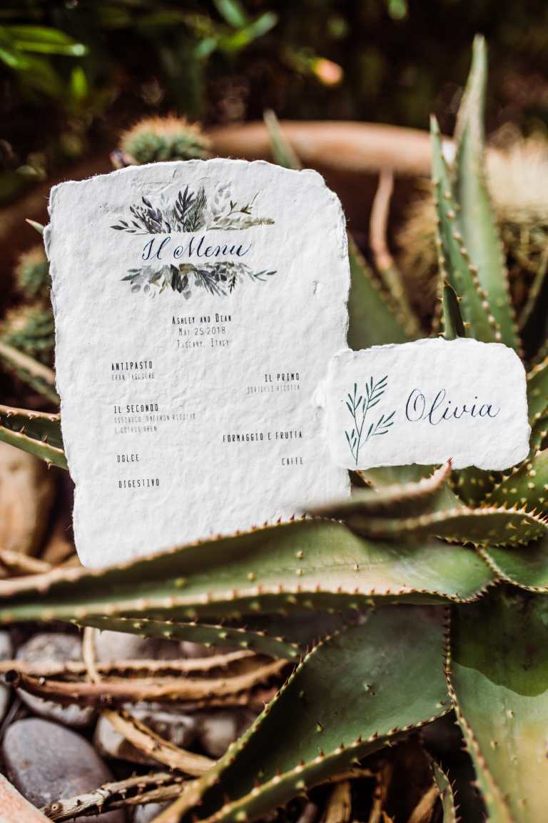 Italian Floral Menu and Placecard on Handmade Paper Deckled Edge by CalliRosa Calligrapher and Custom Invitations in San Antonio Texas