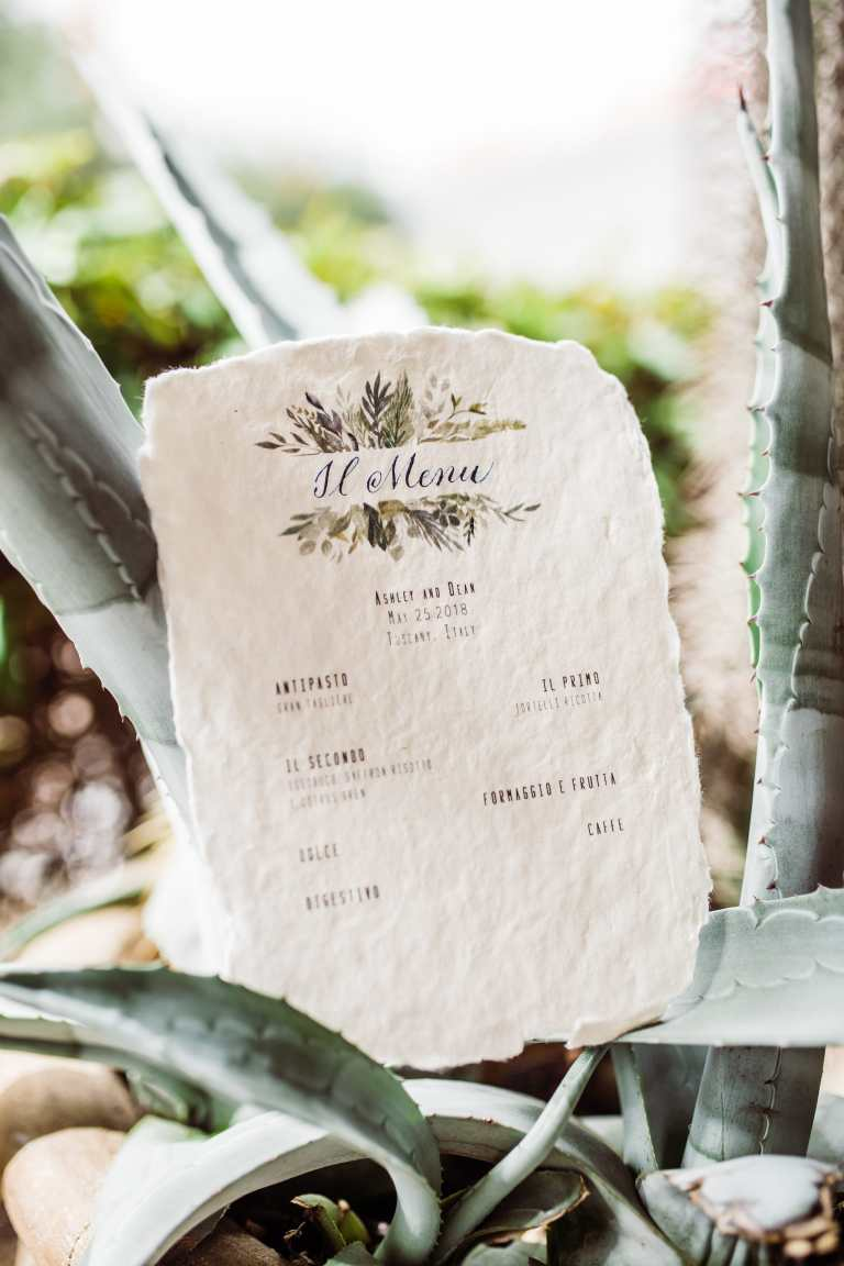 Italian Floral Menu on Handmade Paper Deckled Edge by CalliRosa Calligrapher and Custom Invitations in San Antonio Texas