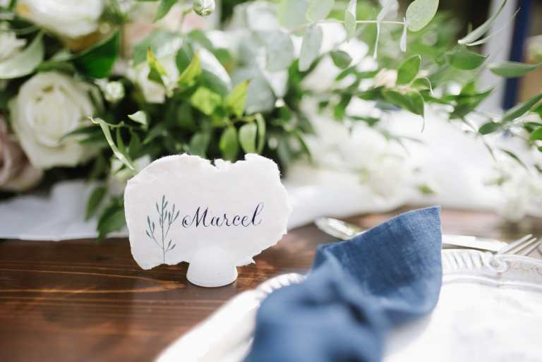 Italian Floral Placecard on Handmade Paper Deckled Edge by CalliRosa Calligrapher and Custom Invitations in San Antonio Texas
