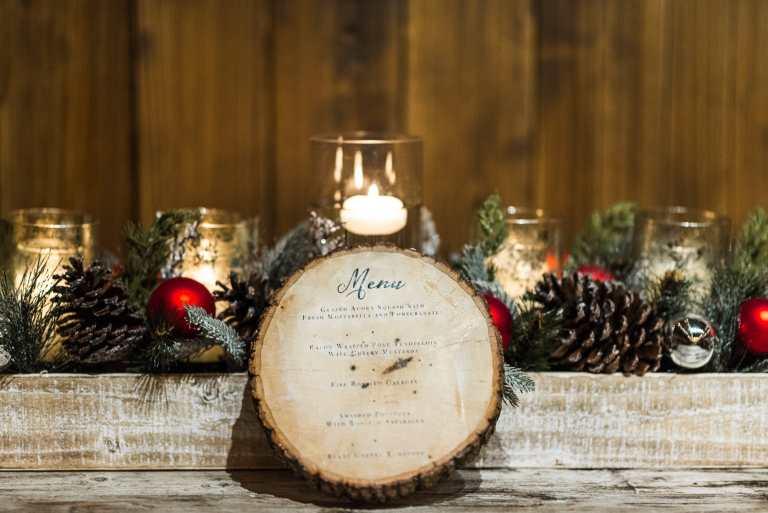 Menu on Wood Slice Disc at The Allen Farmhouse by CalliRosa Calligraphy Calligrapher Custom Wedding Invitations in San Antonio Texas