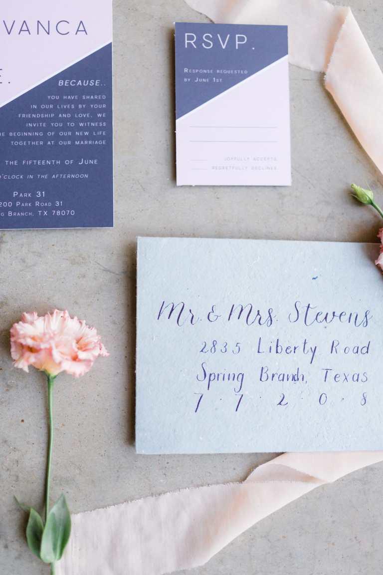 Modern Calligraphy Envelopes by CalliRosa Calligrapher in San Antonio Texas - blue handmade envelope with dark blue lettering