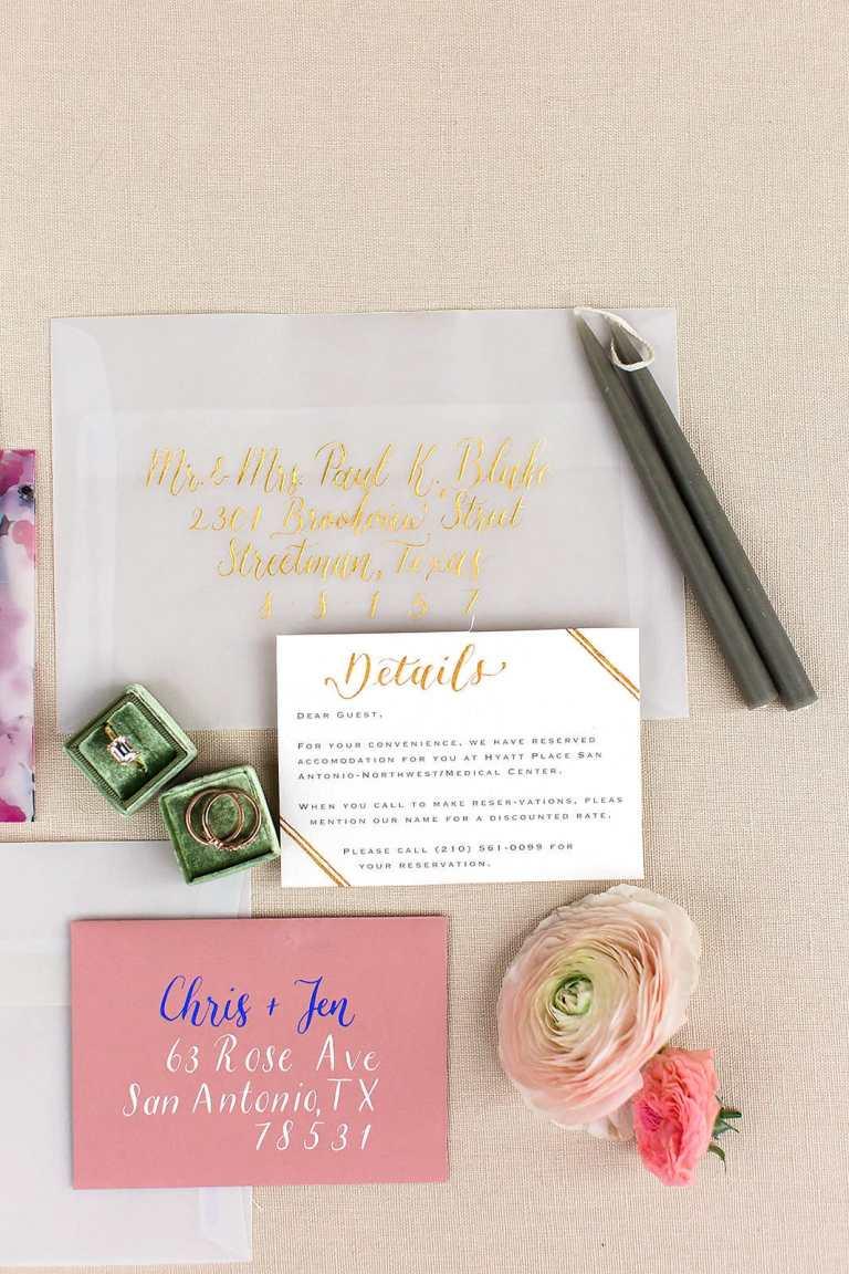 Modern Vintage Minimalistic Invitation with gold calligraphy at The Veranda by CalliRosa custom wedding invitations in San Antonio Texas