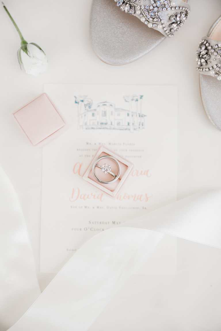 Modern fine art invitation with venue illustration and blush calligraphy at McNay Art Museum by CalliRosa custom wedding invitations in San Antonio Texas