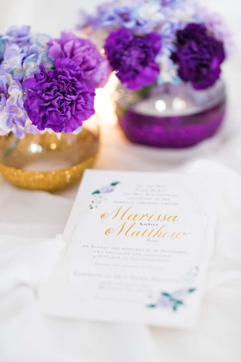 Modern floral geometric Invitation with gold calligraphy at Gardens at Old Town Helotes by CalliRosa custom wedding invitations in San Antonio Texas